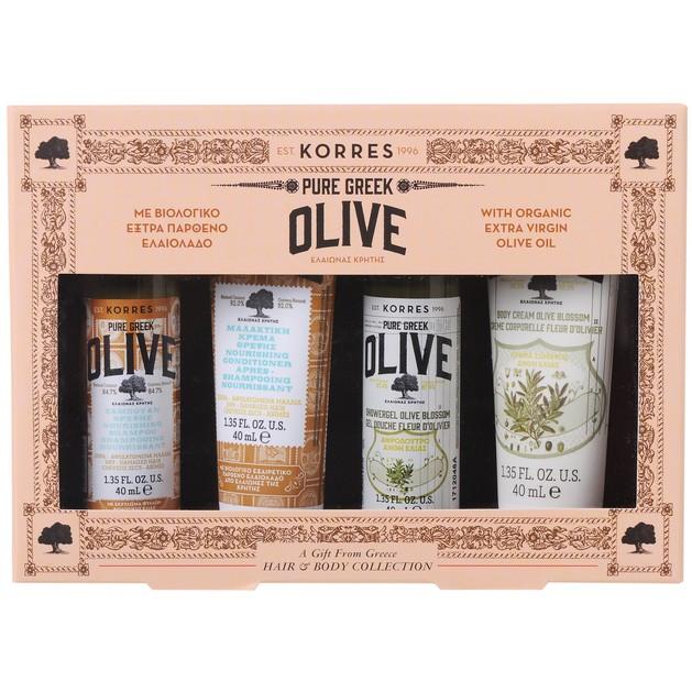 Korres Promo Hair & Body Pure Greek Olive Σαμπουάν 40ml, Μαλακτική Κρέμα 40ml, Αφρόλουτρο 40ml & Κρέμα Σώματος 40ml