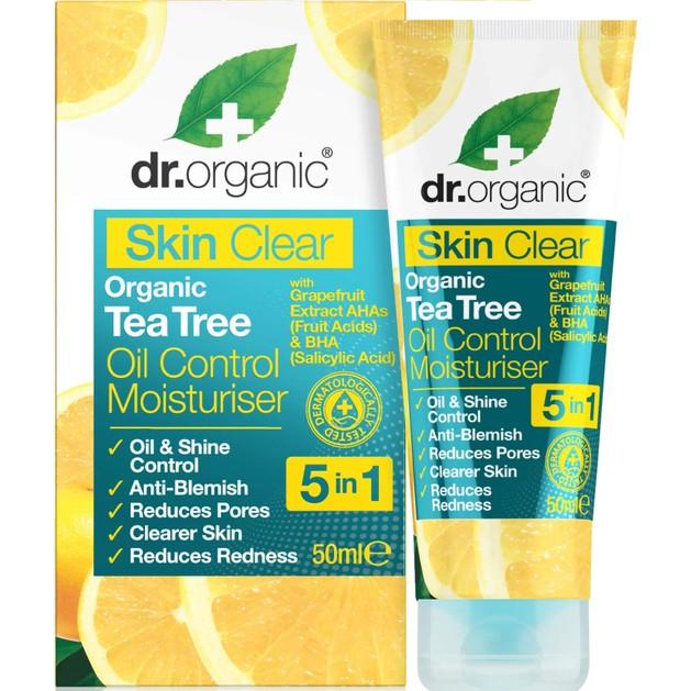 Dr Organic Skin Clear Organic Tea Tree Oil Control Moisturiser Ενυδατική Κρέμα Προσώπου για Έλεγχο της Λιπαρότητας 50ml