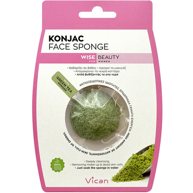 Vican Wise Beauty Konjac Face Sponge Green Tea Powder 1τμχ