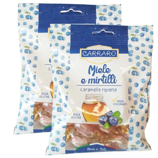 Carraro Πακέτο Προσφοράς Caramelle Miele e Mirtilli Καραμέλες για το Λαιμό με Μέλι & Μύρτιλλο 2x100gr