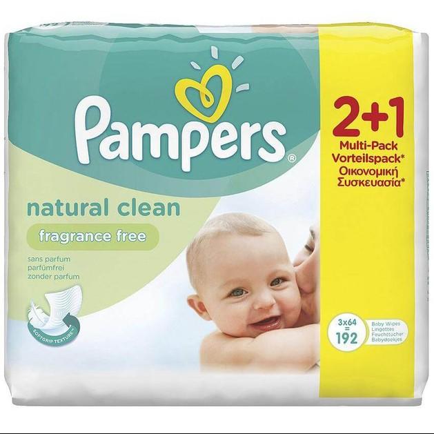 Pampers Πακέτο Προσφοράς Natural Clean Wipes 2+1 Δώρο, 3 x 64τμχ