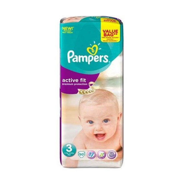 Pampers Active Fit Premium Protection No3 Midi (5-9kg), 50 πάνες