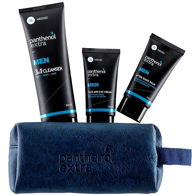 Medisei Panthenol Extra Promo Men Face&Eye Cream 75ml & AfterShave Balm 75ml & 3in1 Cleanser Face Body Hair 200ml & Δώρο Νεσεσερ