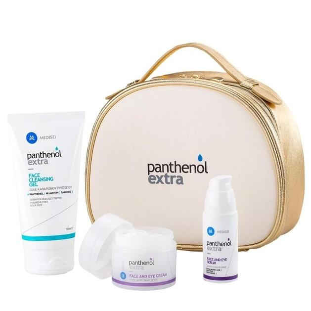 Medisei Panthenol Extra Gift for Her, Face & Eye Cream 50ml, Serum 30ml & Face Cleansing Gel 150ml