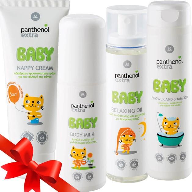 Panthenol Extra Baby Πακέτο Προσφοράς Nappy Cream 100ml, Body Milk 100ml, Relaxing Oil 100ml & Shower & Shampoo 300ml Promo -40%