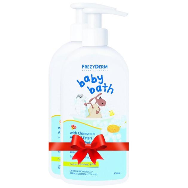 Frezyderm Πακέτο Προσφοράς Baby Bath Βρεφικό Αφρόλουτρο με Χαμομήλι, Εστέρες Αμυγδάλου & Πρωτείνες Σιταριού 2x300ml