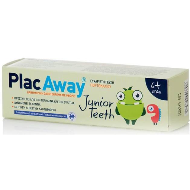 Δώρο Plac Away Junior Teeth Παιδική Οδοντόκρεμα που Προστατεύει από την Τερηδόνα & την Ουλίτιδα με Γεύση Πορτοκάλι 6+ Ετών 50ml