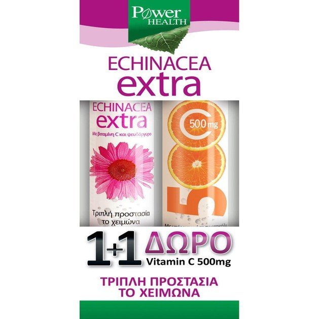 Power Health Πακέτο Προσφοράς Echinacea Extra 20+4Eff.Tabs & Δώρο Βιταμίνη C 500mg 20Eff.Tabs