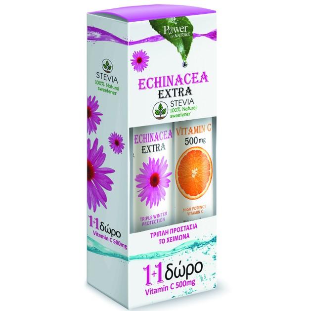 Power Health Echinacea Extra Stevia 24Effer.Tabs & Vitamin C 500mg 20Effer.Tabs 1+1