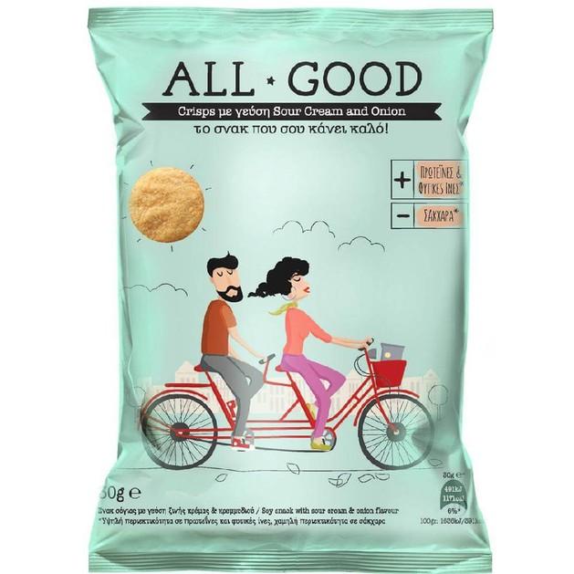 Δώρο -Power Health All Good Crisps Το Σνακ που σου Κάνει Καλό με Γεύση Sour Cream & Onion 30gr