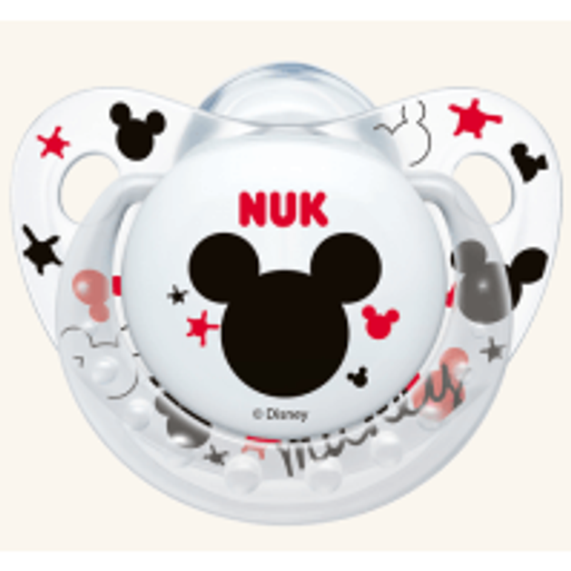 Nuk Trendline Disney Mickey Πιπίλα Σιλικόνης με Κρίκο Λευκή Μεγέθους 1 (0-6 Μηνών) 1τμχ