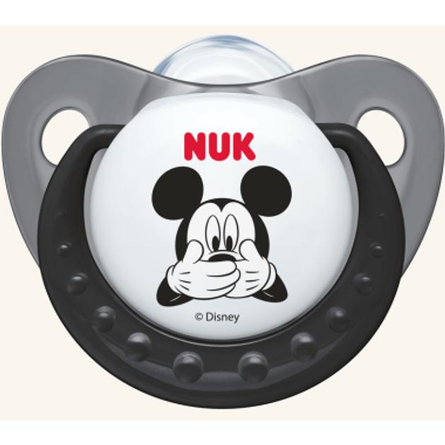 Nuk Trendline Disney Mickey Πιπίλα Σιλικόνης με Κρίκο Γκρι Μεγέθους 1 (0-6 Μηνών) 1τμχ