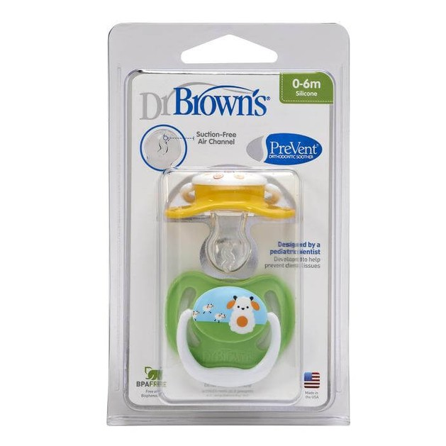 Dr. Brown\'s PreVent PV140-GB  Ορθοδοντική Πιπίλα Σιλικόνης ΕΠΙΠΕΔΟ 1 Για νεογέννητα από 0 έως 6 μηνών