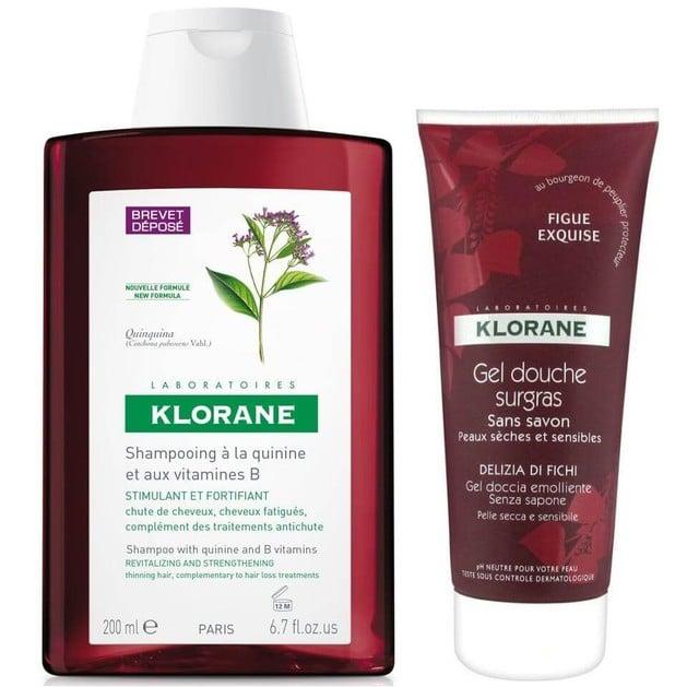 Klorane Πακέτο Προσφοράς Shampooing a la Quinine 400ml & Gel Douche Sugras Delizia di Fichi 200ml