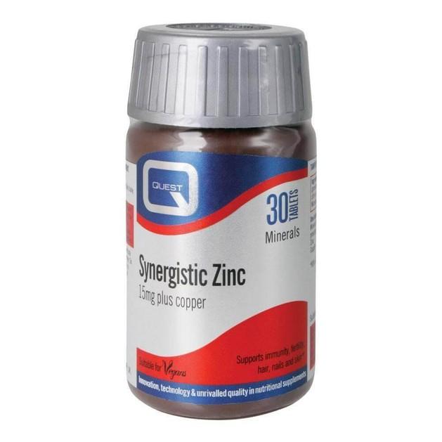Quest Synergistic Zinc 15 mg-Συμπλήρωμα Διατροφής με Ψευδάργυρο, 30 Tabs