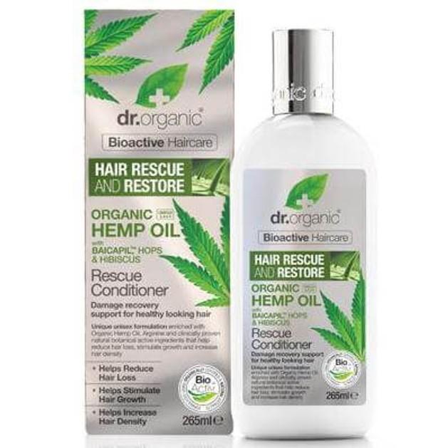 Dr. Organic Hemp Oil Rescue Conditioner Μαλακτική Κρέμα Εντατικής Αναδόμησης & Θρέψης σε Βάθος 265ml