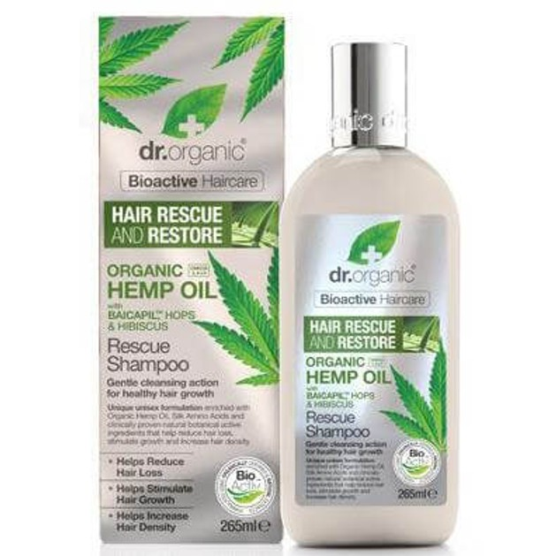 Dr. Organic Hemp Oil Rescue Shampoo Σαμπουάν Εντατικής Ενυδάτωσης και Προστασίας της Τρίχας 265ml
