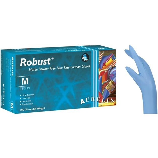 Aurelia Robust Nitrile Powder Free Medium Blue Examination Gloves Εξεταστικά Γάντια Μπλε Νιτριλίου Χωρίς Πούδρα 100τμχ