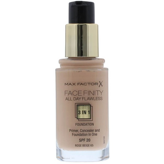 Max Factor Facefinity 65 Rose Beige  3 in 1 Foundation 30ml  (make up)