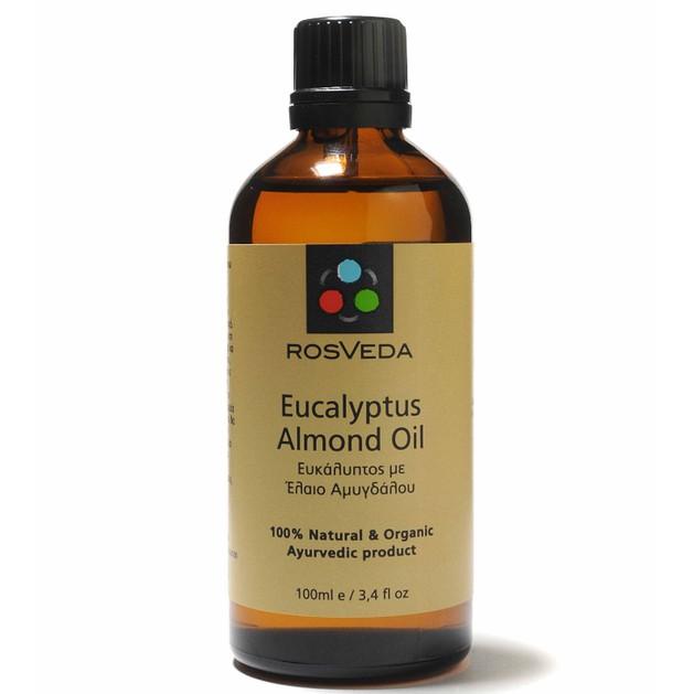 Rosveda Eucalyptus & Almond Oil  100% Φυτική Σύνθεση, Μείγμα 100% Καθαρού Αιθέριου Ελαίου Ευκαλύπτου με Έλαιο Αμυγδάλου 100ml