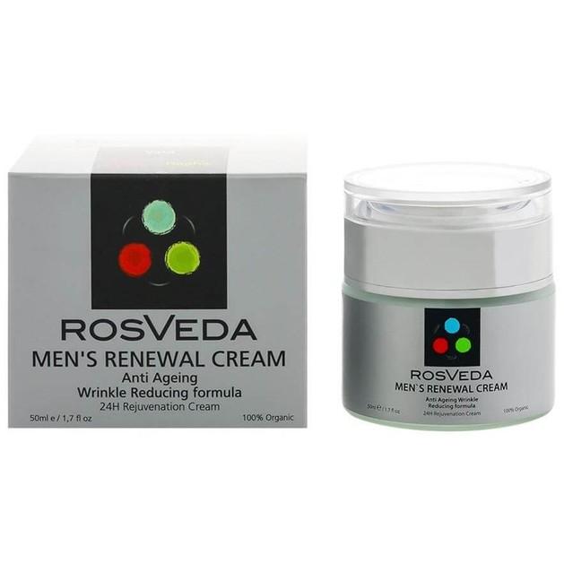 RosVeda Men\'s Renewal Cream 100% Φυτική Σύνθεση, Αντιρυτιδική, Αντιγηραντική Φόρμουλα Αναδόμησης Της  Αντρικής Επιδερμίδας 50ml