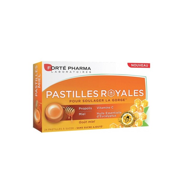 Forte Pharma Pastilles Royales Παστίλιες με Πρόπολη & Γέυση Μέλι για τον Πονόλαιμο, 24 τεμάχια