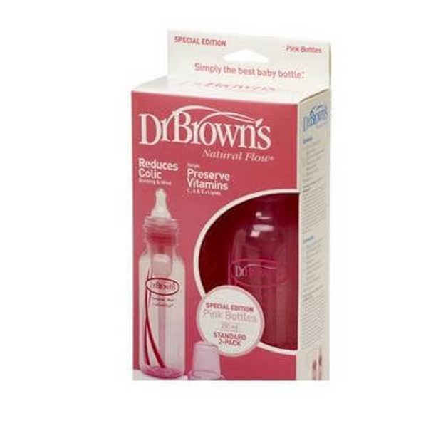 Dr. Brown\'s Natural Flow 211 Χρώμα Ροζ Πλαστικό Μπιμπερό Με Στενό Λαιμό & Φυσική Ροή Θηλή Σιλικόνης 2 τμχ, 2x250ml