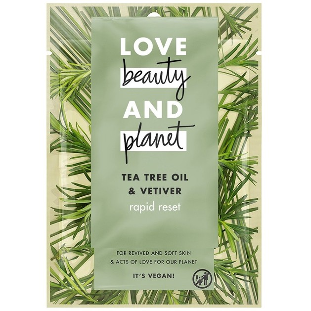 Love Beauty & Planet Tea Tree Oil & Vetiver Rapid Reset Sheet Mask Μάσκα Προσώπου 21ml