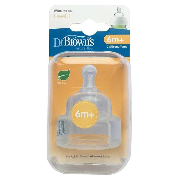 Dr. Brown\'s Options Θηλές Σιλικόνης για Μπιμπερό με Φαρδύ Λαιμό 6m+ 2τμχ