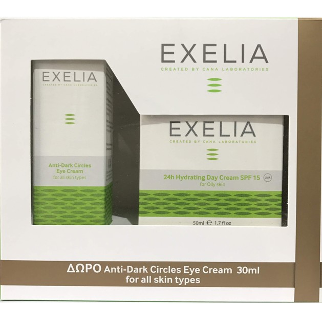 Exelia Πακέτο Προσφοράς 24h Hydrating Day Cream Spf15 UVA for Oily Skin 50ml & Δώρο Anti-Dark Circles Eye Cream 30ml