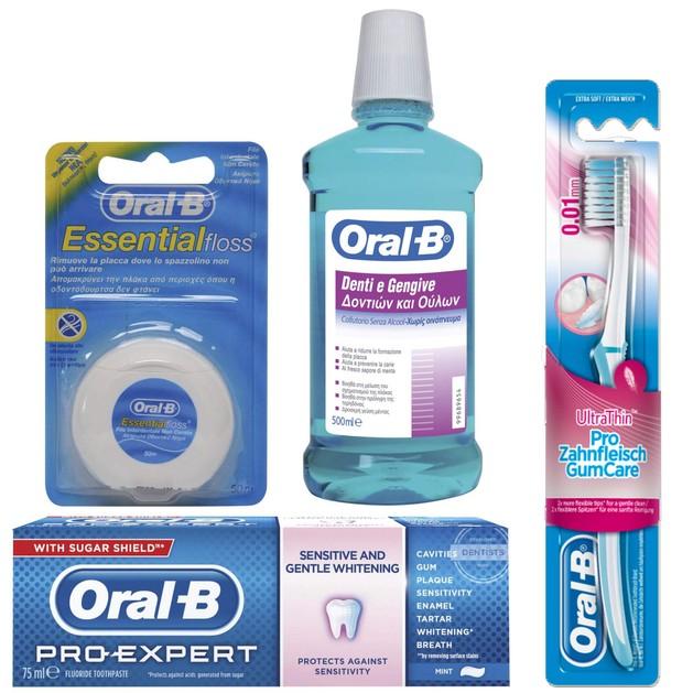 Oral-B Πακέτο Προσφοράς Sensitive Ολοκληρωμένο Σύστημα Στοματικής Υγιεινής για Γρήγορη Ανακούφιση & Πρόληψη Ευαισθησίας 4Τεμάχια