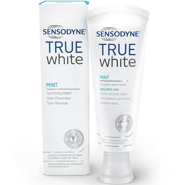 Sensodyne True White Mint Toothpaste Εξειδικευμένη Οδοντόκρεμα Λεύκανσης για Ευαίσθητα Δόντια, 75ml