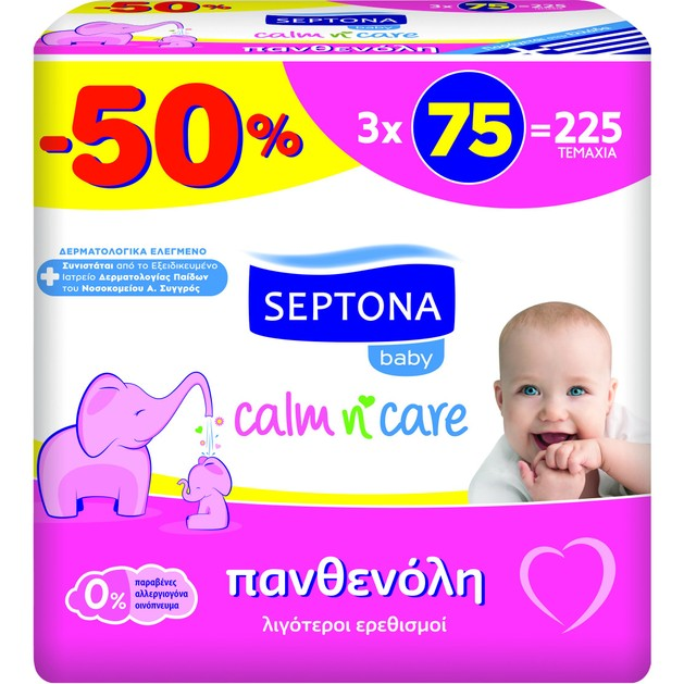 Septona Baby Calm n\' Care Wipes Panthenol Απαλά Βρεφικά Μωρομάντηλα με Πανθενόλη για Λιγότερους Ερεθισμούς 3x75 Τεμάχια
