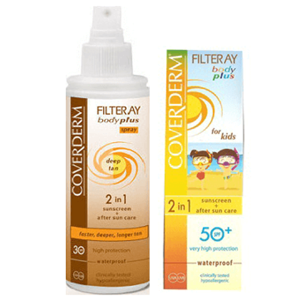 Coverdern Filteray Body Plus Deep Tan Spray Spf30 100ml + Filteray BodyPlus For Kids 2in1 SPF 50+ 100ml +ΔΩΡΟ ΤΣΑΝΤΑ COOLER