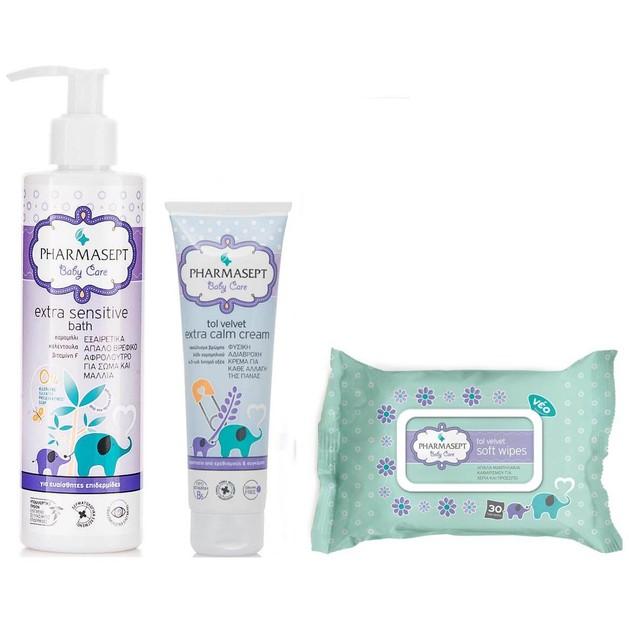 Pharmasept Σειρά Περιποίησης για το Μωρό Extra Sensitive Bath 250ml & Extra Calm 150ml & Wipes 30Τεμάχια