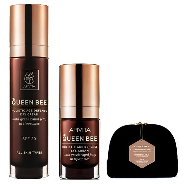 Apivita Πακέτο Προσφοράς Queen Bee Κρέμα Ημέρας Ολιστικής Αντιγήρανσης Spf20 50ml & Δώρο Queen Bee Κρέμα Ματιών 10ml & Νεσεσέρ