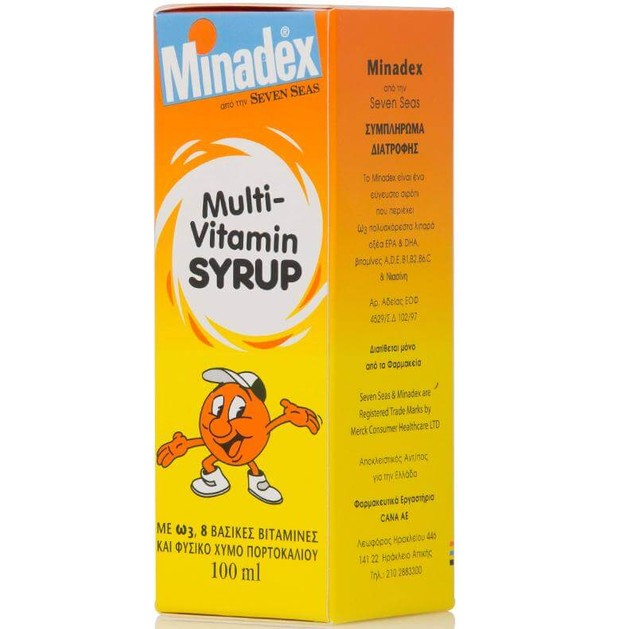 Seven Seas Σιρόπι Minadex Multi-Vitamin Πολυβιταμινούχο Σιρόπι Για Παιδιά Με 8 Βιταμίνες Και Χυμό Πορτοκαλιού 100ml