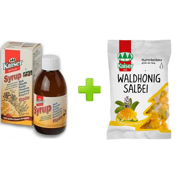 Kaiser Syrup Cherry Παιδικό Αρωματικό Σιρόπι Με Γεύση Κεράσι για το Βήχα και τον Ερεθισμένο Λαιμό 200ml + Δώρο Καραμέλες Kaiser