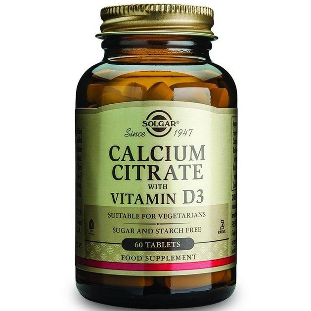 Solgar Calcium Citrate 250mg with Vitamin D3 60 tabs