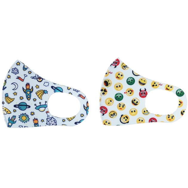 Tili Fashion Face Mask Παιδικές Μάσκες Προσώπου Πολλαπλών Χρήσεων με Σχέδια Διάστημα - Emoji για Αγόρι 2 Τεμάχια