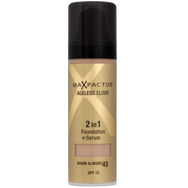 MAX FACTOR Ageless Elixir 2in1 Make-Up Foundation+Serum 45 Warm Almond  30ml