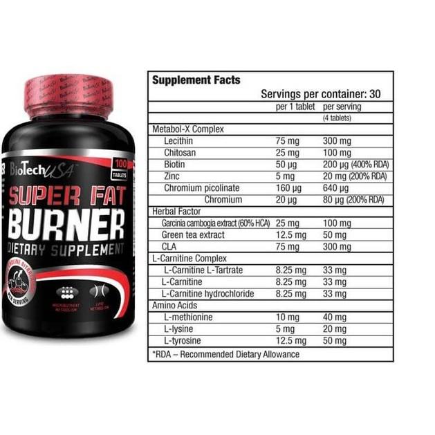 Biotech Usa Super Fat Burner Διώξτε Το Λίπος Και Τα Περιττά Υγρά 120tabs