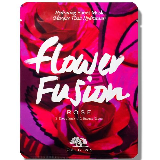 Origins Flower Fusion Hydrating Sheet Mask Rose Μάσκα Προσώπου για Εντατική Ενυδάτωση της Ξηρής Επιδερμίδας 1 Sheet