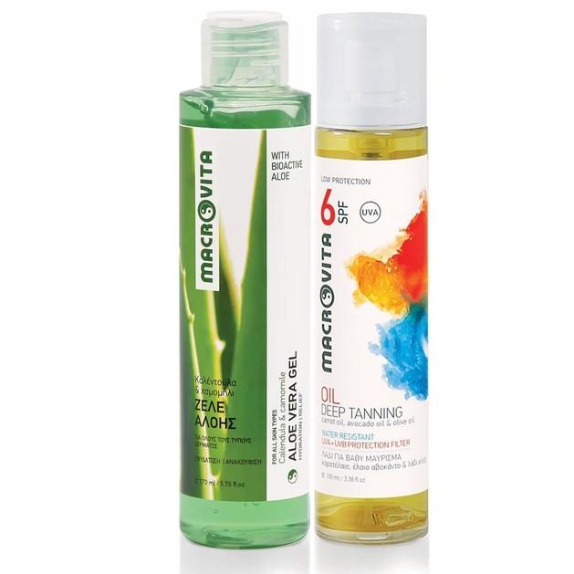 Macrovita Aloe Vera Gel 170ml & Δώρο Deep Tan Oil Spf6, 100ml