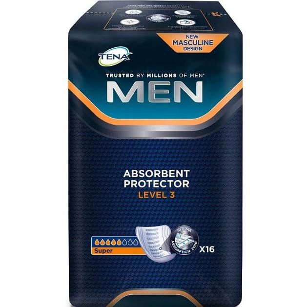 Tena Men Absorbent Protector Level 3 Επιθέματα Ακράτειας για Άντρες 16τεμ