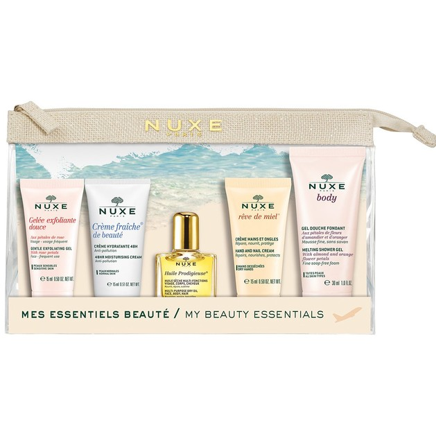 Nuxe Travel Kit Gelee Exfoliante Douce 15ml,Creme Fraiche 15ml,Huile Prodigieuse 10ml,Reve De Miel Hand-Nail 15ml,Body Gel 30ml
