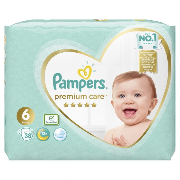Pampers Premium Care No.6 (13+kg) Πάνες 38 τεμάχια