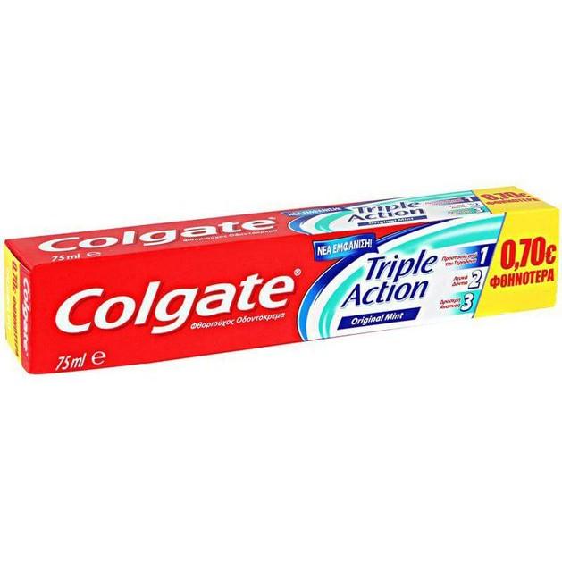 Colgate Triple Action Οδοντόκρεμα Προστασία Από Τερηδόνα, Λεκέδες, Καταπολέμηση Δυσάρεστης Αναπνοής Προσφορά -0,70 Ευρώ 75ml