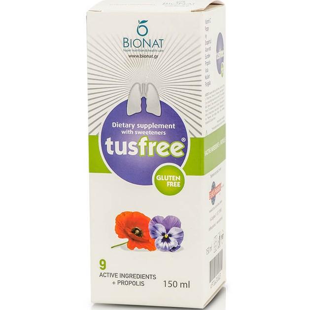Bionat TusFree Συμπλήρωμα Διατροφής, Σιρόπι για τον Ξηρό, Παραγωγικό Βήχα & για την Ενίσχυση του Ανοσοποιητικού 150ml