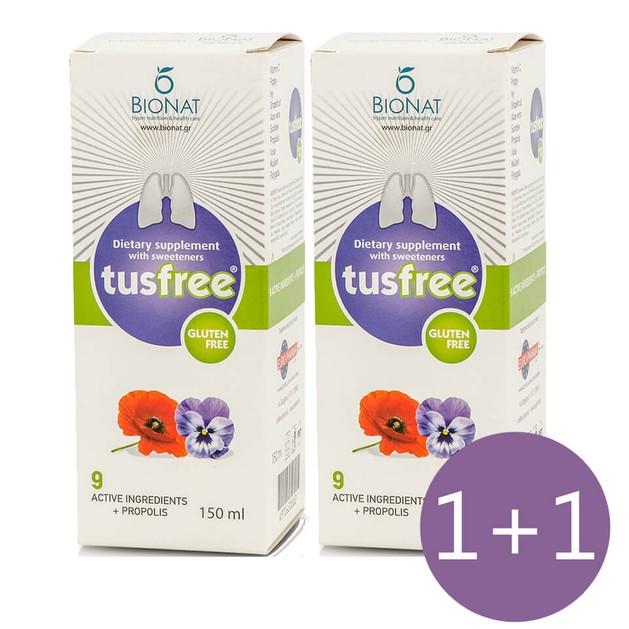 Bionat Πακέτο Προσφοράς TusFree Συμπλήρωμα Διατροφής,Σιρόπι για Ξηρό, Παραγωγικό Βήχα & Ενίσχυση Ανοσοποιητικού 150ml 1+1 Δώρο